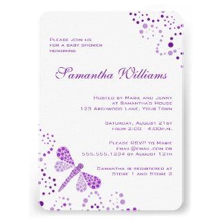 Purple & White Dragonfly Elegant Baby Shower Invites