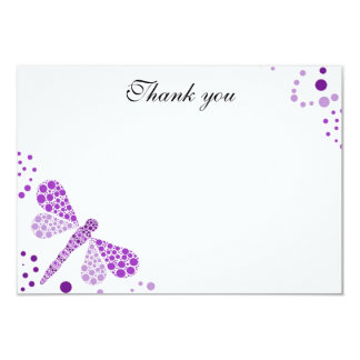 Purple & White Dragonfly Flat Thank You Note Card
