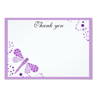 Purple & White Dragonfly Flat Thank You w/ Border Card