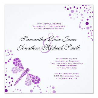 Purple White Dragonfly Pointilism Custom Wedding Card