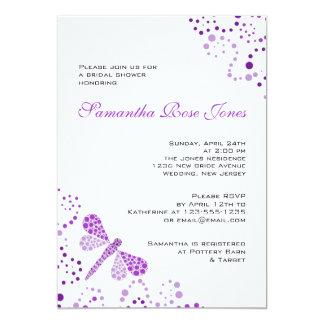 Purple White Dragonfly Pointillism Bridal Shower 13 Cm X 18 Cm Invitation Card