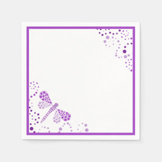 Purple & White Dragonfly Pointillism Custom Disposable Napkins
