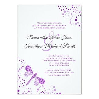Purple White Dragonfly Pointillism Custom Wedding Card