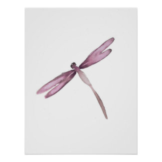 Purple white dragonfly poster dragonflies