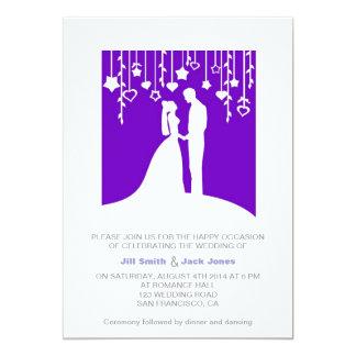 "Purple & White Elegant Modern Wedding Invitation 5"" X 7"" Invitation Card"