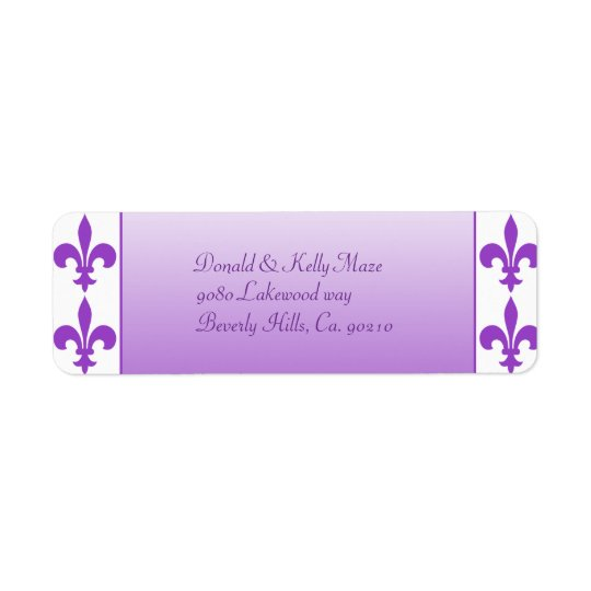Purple & White Fleur De Lis Wedding Return Address Label