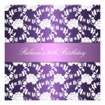 Purple White Floral 30th Birthday Elegant Personalized Invitation