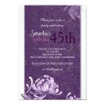 Purple White Floral 45th Birthday Party Invitation