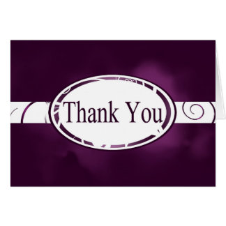 Purple & White Floral Button Thank You Card
