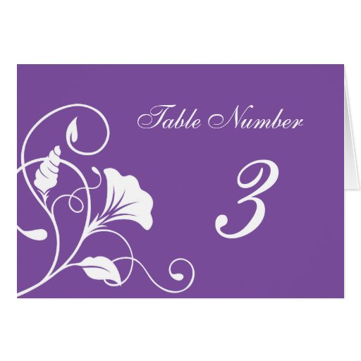 Purple & White Floral Curls Wedding Table Cards Card