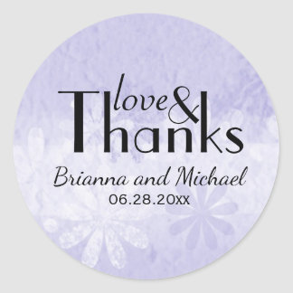 Purple White Floral Custom Wedding Favor Stickers