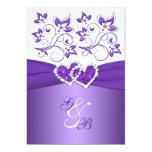 Purple & White Floral Joined Hearts Wedding Invite 13 Cm X 18 Cm Invitation Card