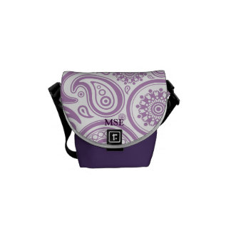Purple White Floral Paisley Pattern Courier Bag