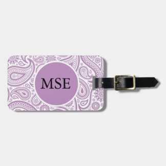 Purple White Floral Paisley Pattern Luggage Tag