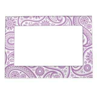 Purple White Floral Paisley Pattern Magnetic Picture Frame