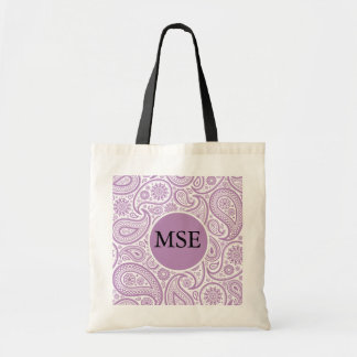 Purple White Floral Paisley Pattern Tote Bag