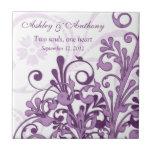 Purple White Floral Personalised Wedding Tile