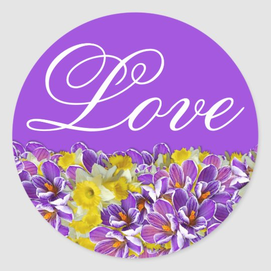 Purple & White Floral Spring Love Sticker