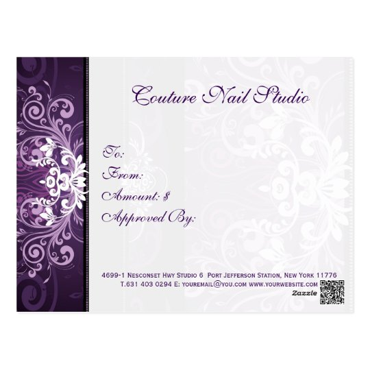 Purple & White Floral Swirl Gift Certificate Postcard