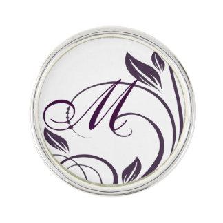 Purple & White Floral Swirls Wedding Postage Stamp Lapel Pin