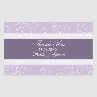 Purple White Floral Thank You Wedding Favor Tags Stickers