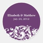 Purple & White Flourish Swirl Wedding Favour Label