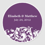 Purple & White Flourish Swirl Wedding Favour Label Round Sticker