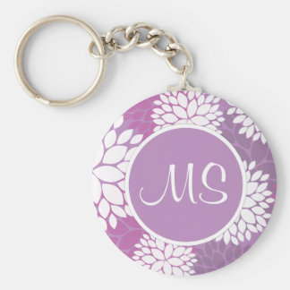 Purple White Flowers Basic Round Button Key Ring