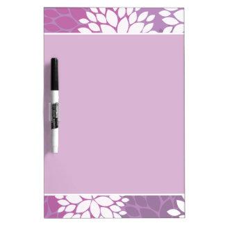 Purple White Flowers Dry Erase Board