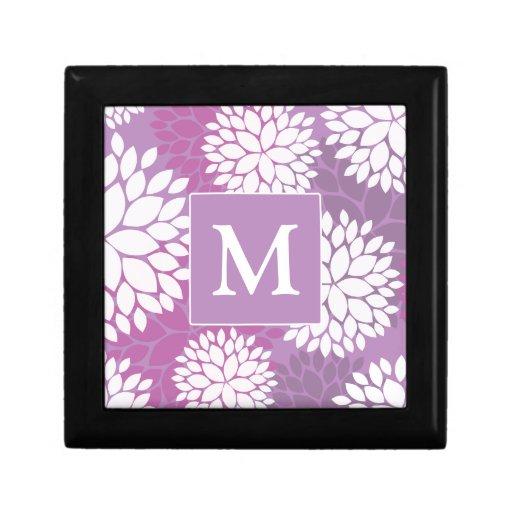 Purple White Flowers Keepsake Boxes