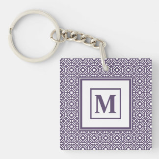 Purple & White Geometric Tile Tessellation Pattern Double-Sided Square Acrylic Key Ring