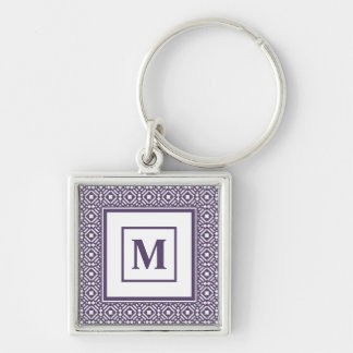 Purple & White Geometric Tile Tessellation Pattern Silver-Colored Square Key Ring