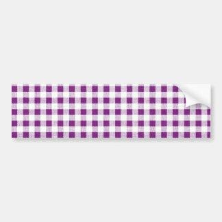 Purple White Gingham Pattern Bumper Stickers
