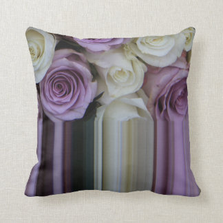 Purple White Graphic rose throw pillow