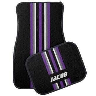 Purple, White, Gray Race Stripes on Black Car Mat