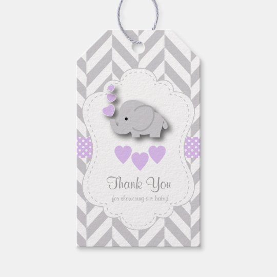 Purple, White Grey Elephant Baby Shower Thank You