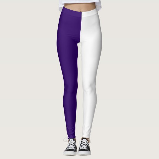purple white high school pride colours leggings