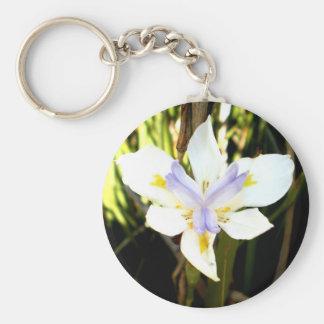 Purple White Iris Flower Key Chains