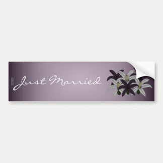 Purple & White Lillies(Just Married) Bumper Sticker