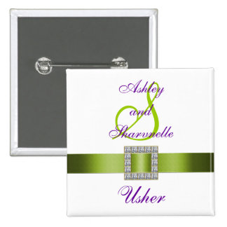 Purple, White, Lime Green Usher Pin