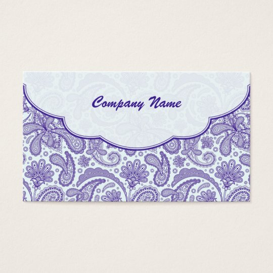 Purple & White Ornate Paisley Pattern Business Card