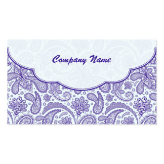 Purple & White Ornate Paisley Pattern Pack Of Standard Business Cards
