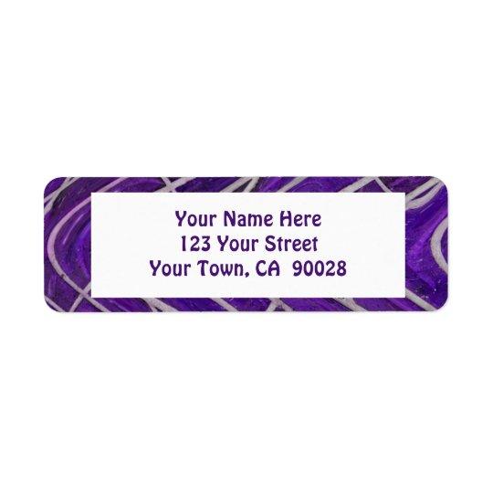 purple white pattern return address label
