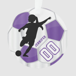 Purple & White Personalize Girl Soccer Player Ornament