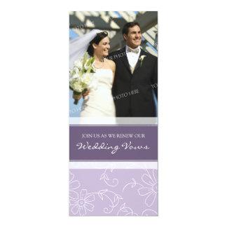 "Purple White Photo Wedding Vow Renewal Invitations 4"" X 9.25"" Invitation Card"