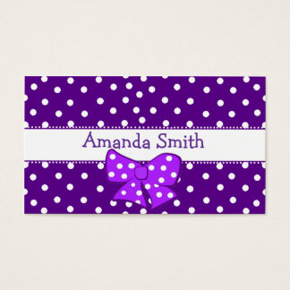 Purple & White Polka Dot Girl's Play Date Card