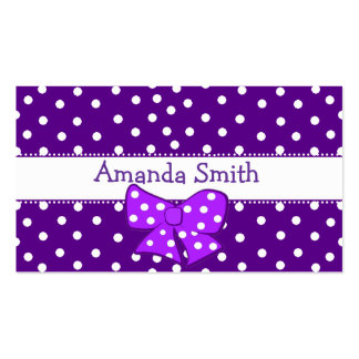 Purple & White Polka Dot Girl's Play Date Card Pack Of Standard Business Cards
