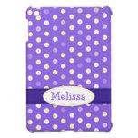 Purple white polka dot name girls ipad mini case