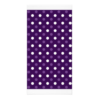 Purple white polka dots photo cards