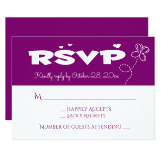 Purple & White  RSVP Butterfly & Hearts Wedding Card